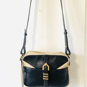 Linea Pelle black and cream leather crossbody